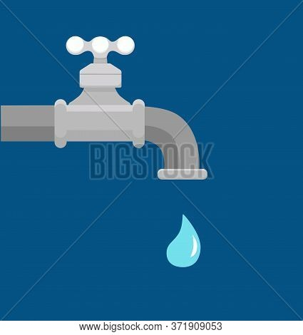 Vector Illustration Of Faucet And A Falling Drop Of Water.