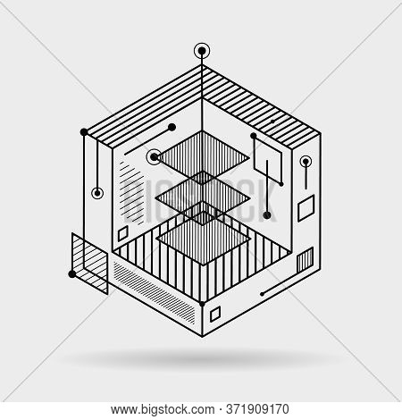Abstract Lines Elements Technical Cubic 3d Isometric Background Design Vector Illustration