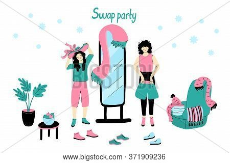 Clothing Swap Party Vector Illustration Isolated On White Background. Friends Exchange Their Clothes