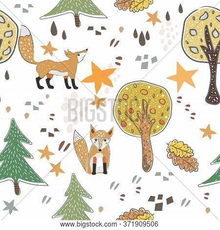 Seamless Fox Pattern With Cute Trees, Stars, Foxes And Abstract Shapes. Cute Scandinavian Style.