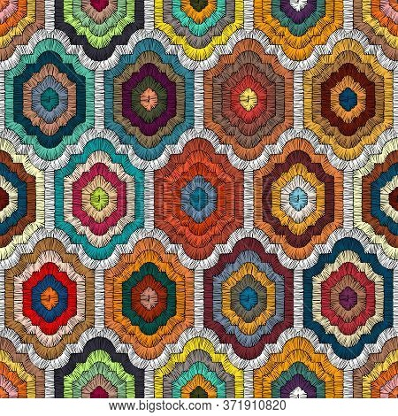 Seamless Embroidered Pattern In Bohemian Style. Geometric Print Patchwork For Textiles. Handwork. Et