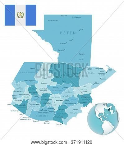 Guatemala Administrative Blue-green Map With Country Flag And Location On A Globe.