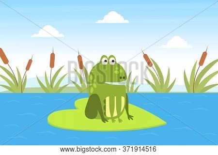 Green Funny Frog Sitting On Leaf In Pond, Cute Amphibian Creature On Lily Pad Cartoon Vector Illustr