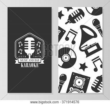 Karaoke Music And Bar Card Template, Front And Back Sides, Concert, Music Festival Flyer, Business O
