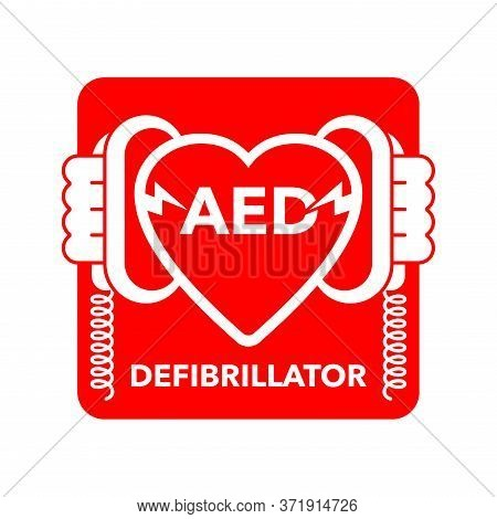 Aed Icon - Automated External Defibrillator Sign -  Isolated Vector Medical Equipment Emblem