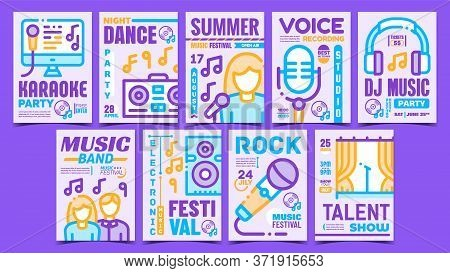 Music Concert Creative Promo Posters Set Vector. Rock And Dj Electro Music, Karaoke And Dancing Club