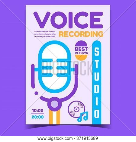 Voice Recording Studio Promotional Banner Vector. Studio Retro Microphone For Record Singer Voice, M