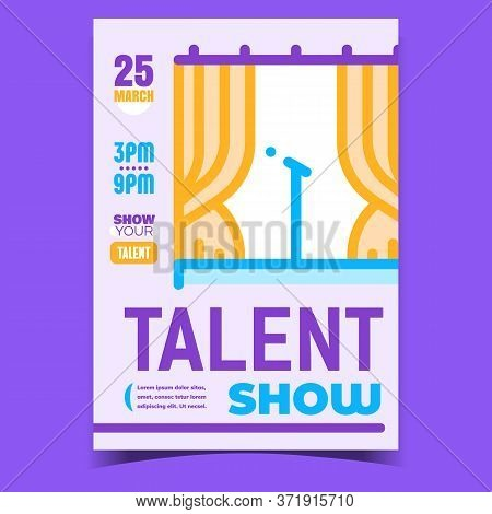 Talent Show Creative Promotional Banner Vector. Microphone On Concert Stage, Music Vocal Or Stand-up