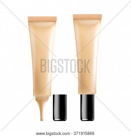 Facial Skin Care Tonal Cream Cosmetic Tube Vector. Blank Package Of Visage Corrective Elegant Cosmet