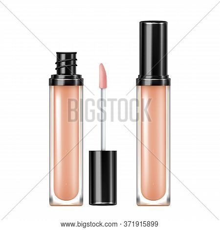 Concealer Skin Cosmetic Bottle With Tassel Vector. Opened And Closed Blank Package Of Face Skincare