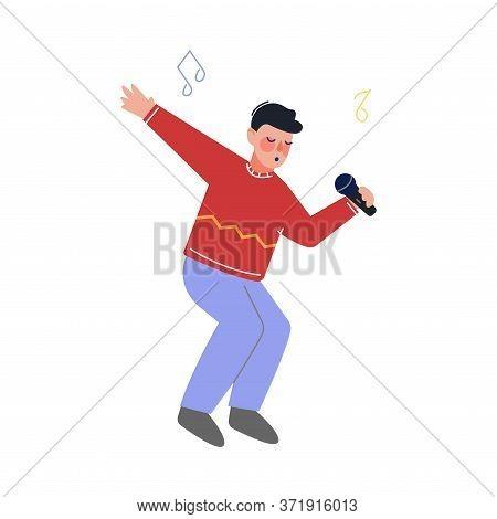 Teen Boy Singing With Microphone, Talented Teenager Character Performing In Concert, Singing Karaoke