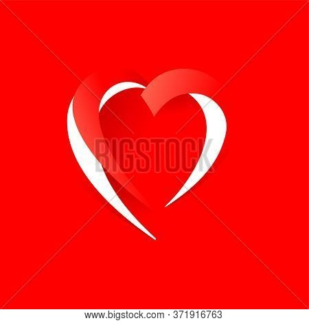Cutout Paper Heart Shape On Red Background - Vector Template For  Wedding Invitation, Valentines Day