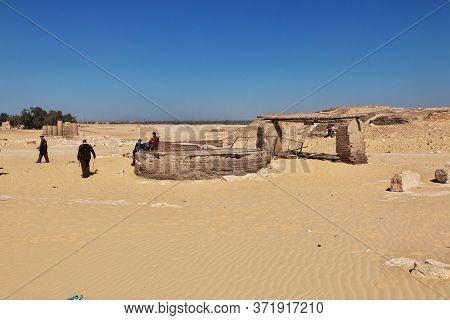 El Minya / Egypt - 03 Mar 2017: The Ruins Of The Temple In The Desert Close El Minya, Egypt