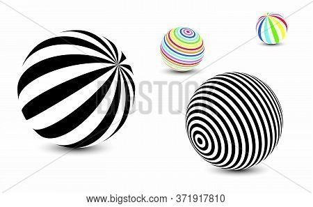 Striped Balls 3d. Black And White Abstract Background. Vector Spiral Diagonal Swirls Sphere With Opt