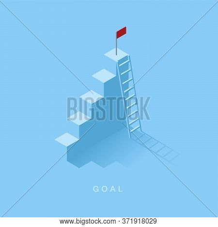 Growth Or Increase Design Concept. Step As Staircase Growing Up To Target And Ladder Simple. Success