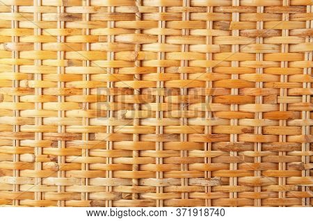 Wicker Rattan Texture Close-up, Natural Golden Texture Of Wicker Rods.