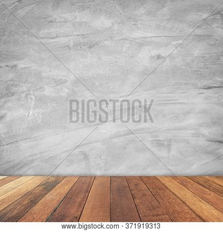 Old Room Cement Wall Interior Vintage And Wood Floor Background.