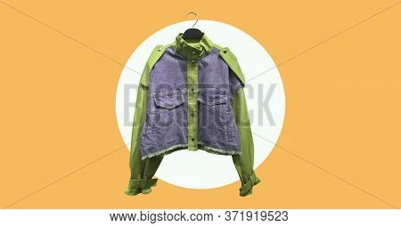 Cropped Cotton Jacket With Long Puff Sleeves Isolated On Abstract Background. Composition Of Clothes