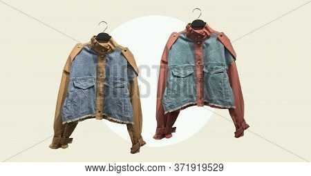 Cropped Cotton Jackets With Long Puff Sleeves Isolated On Abstract Background. Composition Of Clothe