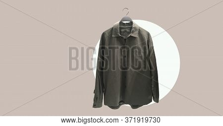 Men Casual Cotton Shirt With Pocket On A Hanger. Minimal Style. Composition Of Clothes. Trendy Cloth
