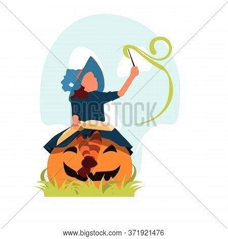 Happy Halloween. Cute Cheerful Little Witch With A Magic Wand And Book Of Spells. Beautiful Child Gi
