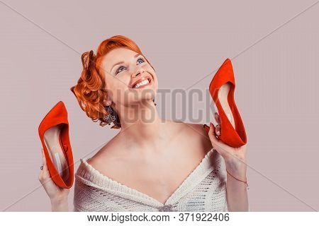 Girl With High Heels. Closeup Red Head Beautiful Young Woman Pretty Happy Pinup Girl In Woolen Dress