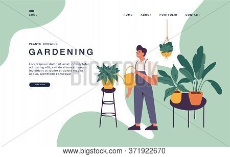 Vector Illustration Man Taking Care Of Houseplants Growing In Planters. Young Cute Man Cultivating P