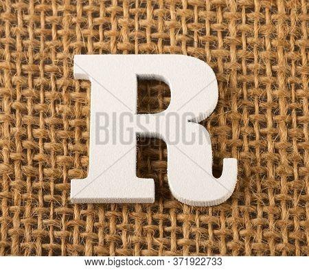 R, Letter Of The Alphabet - Burlap Background Texture