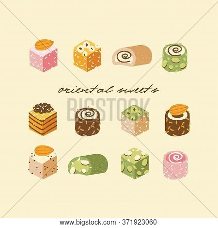 Vector Illustration Collection Of Turkish Sweets With Coconut Flakes And Nuts. Assortment Of Tasty O