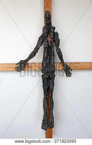 ROSENBERG, GERMANY - MAY 06, 2014: The crucifix at the Sieger Koder Center in Rosenberg, Germany