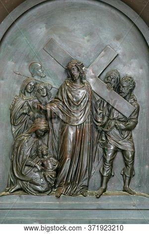 ZAGREB, CROATIA - NOVEMBER 12, 2012: 8th Stations of the Cross, Jesus meets the daughters of Jerusalem, St Francis Xavier's Church in Zagreb, Croatia