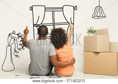 Back View Of African American Couple Daydreaming About Their New House, Collage With Illustrations O