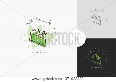 Matcha Tea Linear Design Element - Matcha Cheesecake Emblem, Symbols. Matcha Dessert Template Or Log