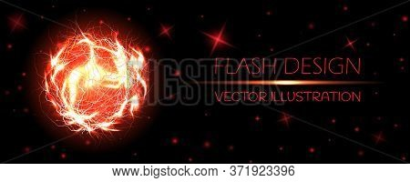 Electric Ball. Powerful Electrical Discharge, Magical Energy Flash. Lightning Circle Strike Impact P