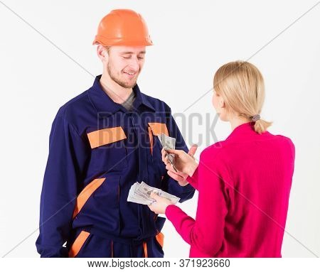 Repairer Happy Get Salary For Work. Payday And Payment Concept.