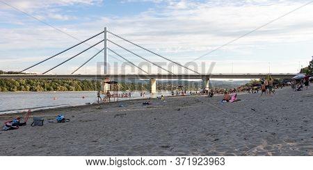 Novi Sad, Serbia - June 14, 2020: People Enjoy On A Beach (strand) On A Danube River, View At Libert