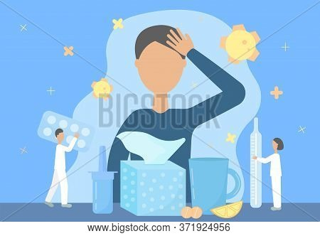 The Concept Of The Treatment Of Colds, Flu, Runny Nose, Coronavirus. Flat Tiny Style. Vector Illustr