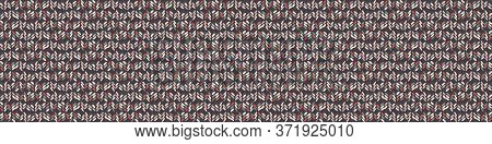 Seamless Red Grey Vector Geometric Polygon Border Pattern. Mid Century Modern Woven Linen Texture St