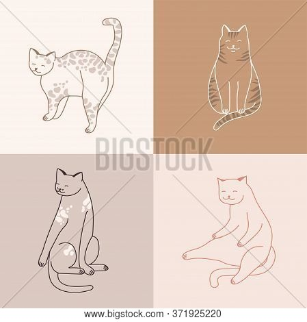 Vector Linear Illustration Set Of Adorable Catsn In Different Poses Sleeping, Stretching Itself, Pla
