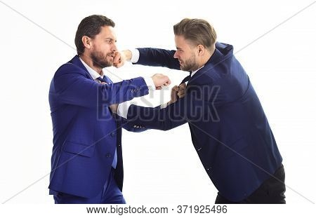 Businessman And Politician Fighting. Liberal Against Conservative.