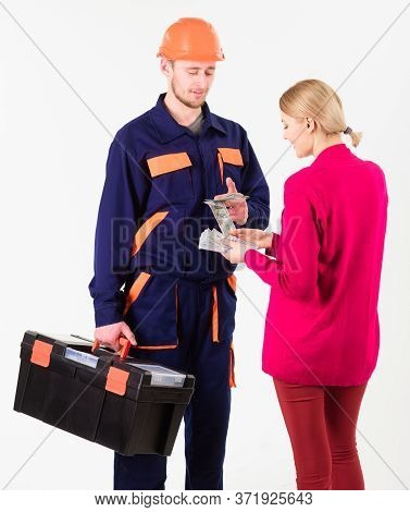 Repairer Get Salary For Work. Payday And Payment Concept.
