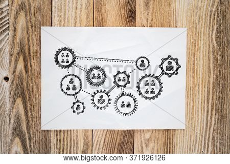 Human Resource Recruitment Pencil Hand Drawn With Group Of Rotating Cogwheels. Headhunting And Team