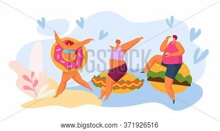 Fast Food And Fat People Cartoon Character, Vector Illustration. Man Woman With Huge Fastfood, Burge
