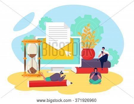 Email Service, Send Letter Vector Illustration. Mail Marketing, Flat Newsletter And Business Compute