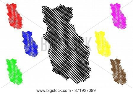 Bumthang District (districts Of Bhutan, Kingdom Of Bhutan) Map Vector Illustration, Scribble Sketch