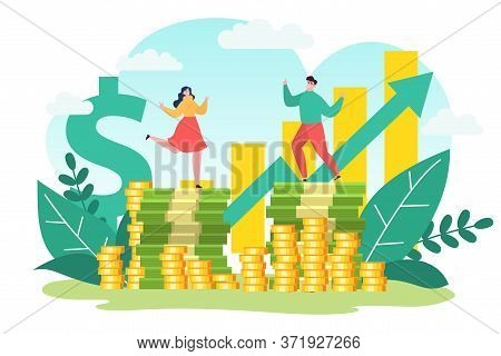 Business Success, Money Profitable Investment Finance, Vector Illustration. Man Woman Character At F