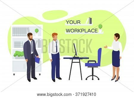 Job Vacancy Workplace Hire, Vector Illustration. Employment At Office, Flat Hiring And Recruitment C
