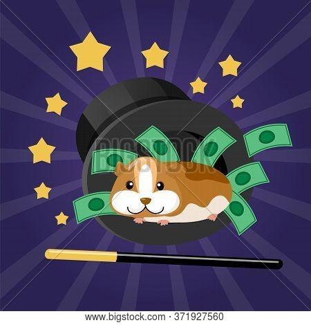 Hamster In Modern Focus, Glowing Bright Vector Illustration. Professional Wizard Imagination, Light