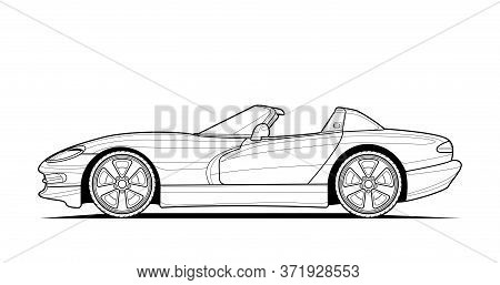 Coloring Pages For Adults Drawing. Line Art Car Cabriolet Picture. Black Contour Illustrate Isolated