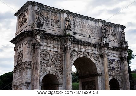 Arch Of Constantine, The Triumphal Arch In Rome, Located Between The Coliseum And The Palatine, Ital